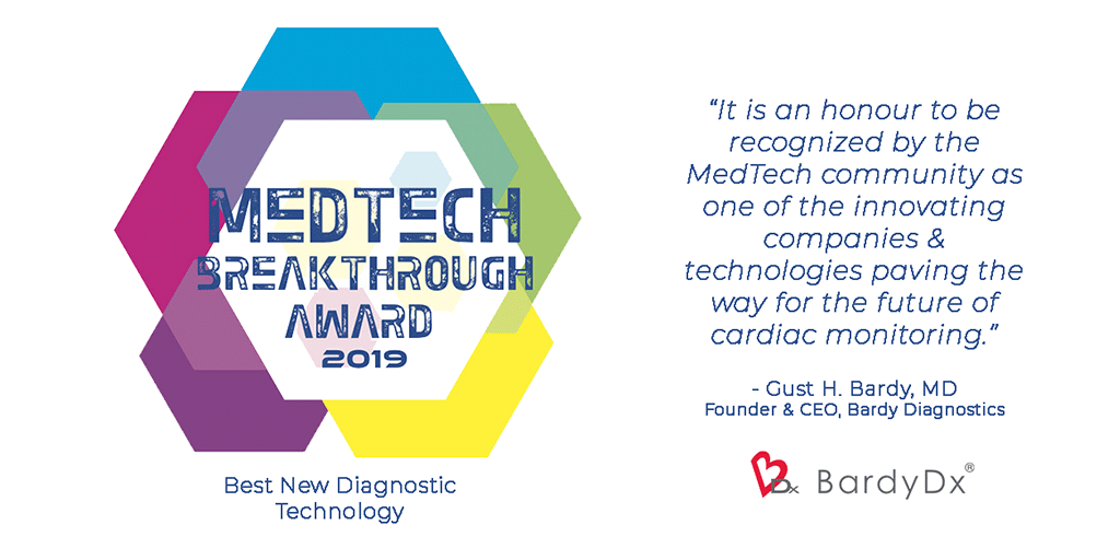 Bardy Diagnostics wins Best New Diagnostic Technology at the 2019 MedTech Breakthrough Awards