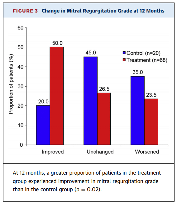 Change in Mitral Regurgitation Grade at 12 months, reduce FMR carillon study, cardiac dimensions