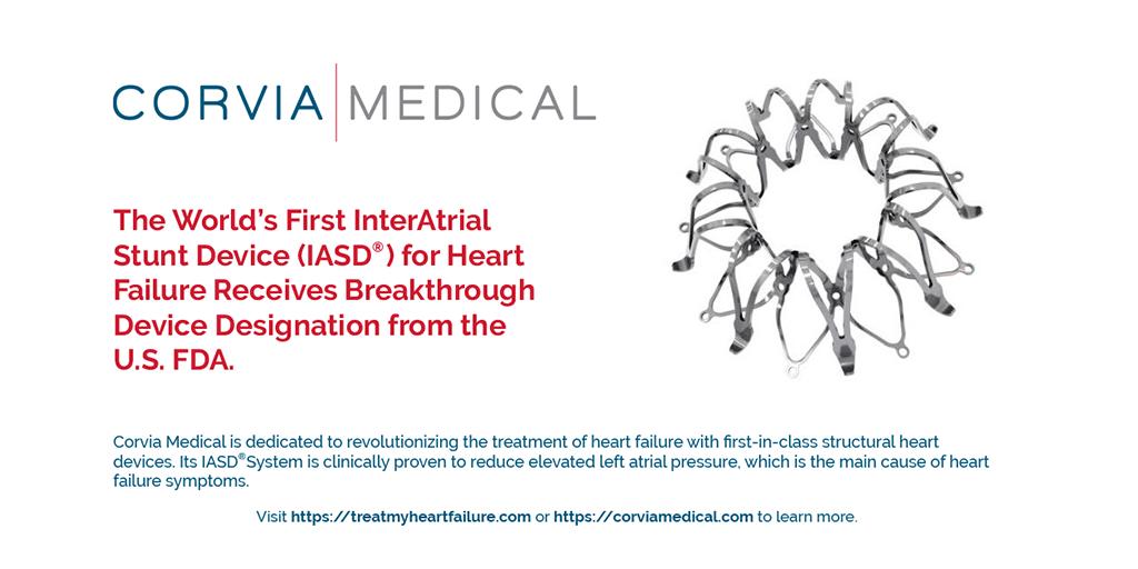 Corvia Medical's InterAtrial Shunt Device receives Breakthrough Designation Status from US FDA